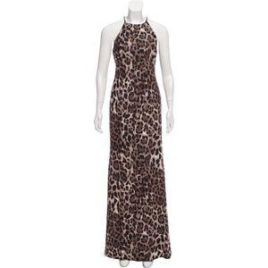 Badgley Mischka cheetah print maxi dress size 4